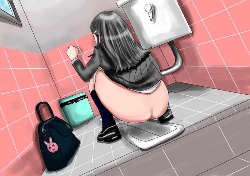 2次エロ画像差分イラスト美尻JK和式トイレでうんこ